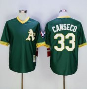 Wholesale Cheap Mitchell And Ness Athletics #33 Jose Canseco Green Throwback Stitched MLB Jersey