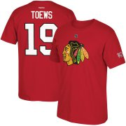 Wholesale Cheap Chicago Blackhawks #19 Jonathan Toews Reebok Centennial Patch Name & Number T-Shirt Red