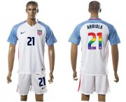 Wholesale Cheap USA #21 Arriola White Rainbow Soccer Country Jersey