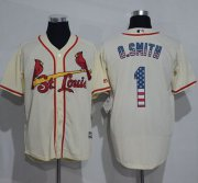 Wholesale Cheap Cardinals #1 Ozzie Smith Cream USA Flag Fashion Stitched MLB Jersey