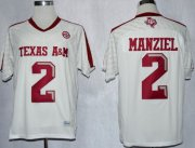 Wholesale Cheap Texas A&M Aggies #2 Johnny Manziel 2013 White Jersey