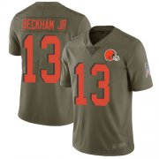 Wholesale Cheap Nike Browns #13 Odell Beckham Jr Olive Men's Stitched NFL Limited 2017 Salute To Service Jersey
