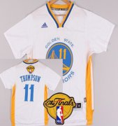 Wholesale Cheap Men's Golden State Warriors #11 Klay Thompson White Short-Sleeved 2017 The NBA Finals Patch Jersey