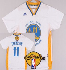 Wholesale Cheap Men\'s Golden State Warriors #11 Klay Thompson White Short-Sleeved 2017 The NBA Finals Patch Jersey