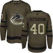 Wholesale Cheap Adidas Canucks #40 Elias Pettersson Green Salute to Service Youth Stitched NHL Jersey
