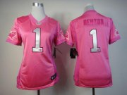 Wholesale Cheap Nike Panthers #1 Cam Newton Pink Women's Be Luv'd Stitched NFL Elite Jersey