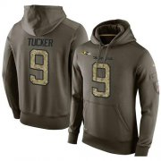 Wholesale Cheap NFL Men's Nike Baltimore Ravens #9 Justin Tucker Stitched Green Olive Salute To Service KO Performance Hoodie