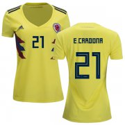 Wholesale Cheap Women's Colombia #21 E.Cardona Home Soccer Country Jersey