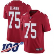 Wholesale Cheap Nike Giants #75 Cameron Fleming Red Alternate Youth Stitched NFL 100th Season Vapor Untouchable Limited Jersey