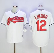 Wholesale Cheap Indians #12 Francisco Lindor White New Cool Base Stitched MLB Jersey
