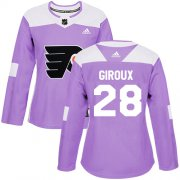 Wholesale Cheap Adidas Flyers #28 Claude Giroux Purple Authentic Fights Cancer Women's Stitched NHL Jersey