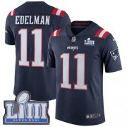 Wholesale Cheap Nike Patriots #11 Julian Edelman Navy Blue Super Bowl LIII Bound Youth Stitched NFL Limited Rush Jersey