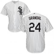 Wholesale Cheap White Sox #24 Yasmani Grandal White(Black Strip) New Cool Base Stitched Youth MLB Jersey