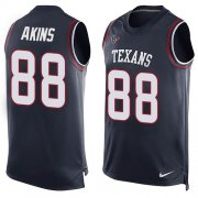 Wholesale Cheap Nike Texans #88 Jordan Akins Navy Blue Team Color Men's Stitched NFL Limited Tank Top Jersey