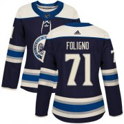 Wholesale Cheap Adidas Blue Jackets #71 Nick Foligno Navy Alternate Authentic Women's Stitched NHL Jersey