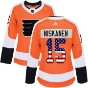 Wholesale Cheap Adidas Flyers #15 Matt Niskanen Orange Home Authentic USA Flag Women's Stitched NHL Jersey