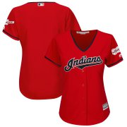 Wholesale Cheap Cleveland Indians Blank Majestic Women's Alternate 2019 All-Star Game Patch Cool Base Team Jersey Scarlet