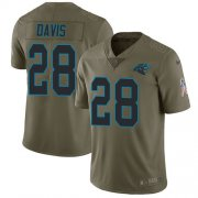 Wholesale Cheap Nike Panthers #28 Mike Davis Olive Men's Stitched NFL Limited 2017 Salute To Service Jersey