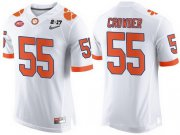 Wholesale Cheap Men's Clemson Tigers #55 Tyrone Crowder White 2017 Championship Game Patch Stitched CFP Nike Limited Jersey