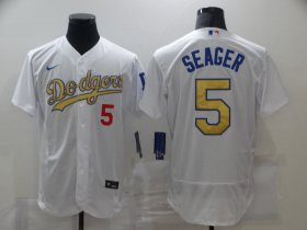 Wholesale Cheap Men\'s Los Angeles Dodgers #5 Corey Seager 2020 White Gold Sttiched Nike MLB Jersey