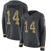 Wholesale Cheap Nike Jets #14 Sam Darnold Anthracite Salute to Service Women's Stitched NFL Limited Therma Long Sleeve Jersey