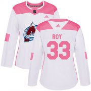 Wholesale Cheap Adidas Avalanche #33 Patrick Roy White/Pink Authentic Fashion Women's Stitched NHL Jersey