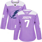 Cheap Adidas Lightning #7 Mathieu Joseph Purple Authentic Fights Cancer Women's Stitched NHL Jersey