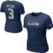 Wholesale Cheap Women's Nike Seattle Seahawks #3 Russell Wilson Name & Number T-Shirt Blue