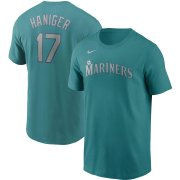 Wholesale Cheap Seattle Mariners #17 Mitch Haniger Nike Name & Number T-Shirt Aqua