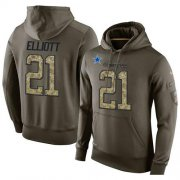 Wholesale Cheap NFL Men's Nike Dallas Cowboys #21 Ezekiel Elliott Stitched Green Olive Salute To Service KO Performance Hoodie