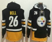 Wholesale Cheap Men's Pittsburgh Steelers #26 Le'Veon Bell NEW Black Pocket Stitched NFL Pullover Hoodie