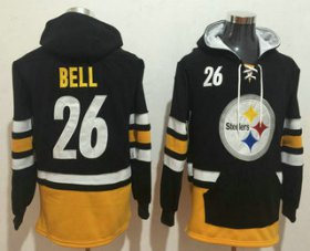 Wholesale Cheap Men\'s Pittsburgh Steelers #26 Le\'Veon Bell NEW Black Pocket Stitched NFL Pullover Hoodie