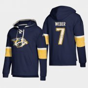 Wholesale Cheap Nashville Predators #7 Yannick Weber Navy adidas Lace-Up Pullover Hoodie