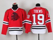 Wholesale Cheap Blackhawks #19 Jonathan Toews Red(Red Skull) Stitched Youth NHL Jersey