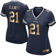 Wholesale Cheap Nike Cowboys #21 Ezekiel Elliott Navy Blue Team Color Women's Stitched NFL Elite Gold Jersey