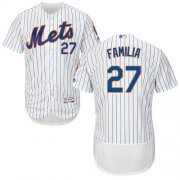 Wholesale Cheap Mets #27 Jeurys Familia White(Blue Strip) Flexbase Authentic Collection Stitched MLB Jersey
