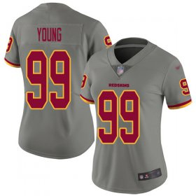 Wholesale Cheap Nike Redskins #99 Chase Young Gray Women\'s Stitched NFL Limited Inverted Legend Jersey