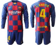 Wholesale Cheap Barcelona #4 I.Rakitic Home Long Sleeves Soccer Club Jersey