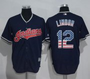 Wholesale Cheap Indians #12 Francisco Lindor Navy Blue USA Flag Fashion Stitched MLB Jersey