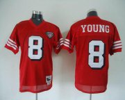 Wholesale Cheap Mitchell And Ness 75TH 49ers #8 Steve Young Red Stitched Throwback NFL Jersey