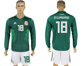 Wholesale Cheap Mexico #18 A.Guardado Home Long Sleeves Soccer Country Jersey