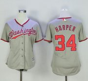 Wholesale Cheap Nationals #34 Bryce Harper Grey Women's Road Stitched MLB Jersey