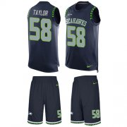 Wholesale Cheap Nike Seahawks #58 Darrell Taylor Steel Blue Team Color Men's Stitched NFL Limited Tank Top Suit Jersey