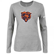 Wholesale Cheap Women's Nike Chicago Bears Of The City Long Sleeve Tri-Blend NFL T-Shirt Light Grey