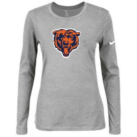 Wholesale Cheap Women\'s Nike Chicago Bears Of The City Long Sleeve Tri-Blend NFL T-Shirt Light Grey