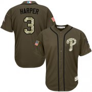 Wholesale Cheap Phillies #3 Bryce Harper Green Salute to Service Stitched Youth MLB Jersey