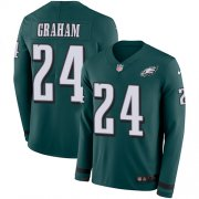Wholesale Cheap Nike Eagles #24 Corey Graham Midnight Green Team Color Men's Stitched NFL Limited Therma Long Sleeve Jersey