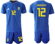 Wholesale Cheap Sweden #12 Johansson Away Soccer Country Jersey