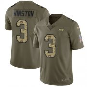 Wholesale Cheap Nike Buccaneers #3 Jameis Winston Olive/Camo Men's Stitched NFL Limited 2017 Salute To Service Jersey