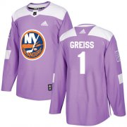 Wholesale Cheap Adidas Islanders #1 Thomas Greiss Purple Authentic Fights Cancer Stitched NHL Jersey